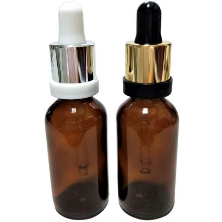 GHAD30S: 30ml Amber Glass Bottles with Tamper Evident Silver/Gold Dropper